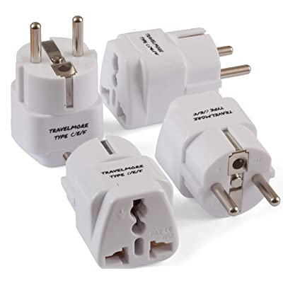 4 Pack European Travel Adapter Plug for European Outlets - Type C, Type E, Type F - Europe Plug Adapter Works in France, Spain, Italy, Germany, Netherlands, Belgium, Poland, Russia & More: Home Audio & Theater