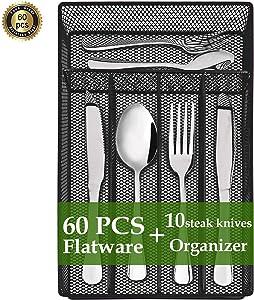 60 Piece Silverware Set, Flatware Set Mirror Polished, Dishwasher Safe Service for 10, Include Knife/Fork/Spoon/Steak knife/Tea Spoon/Tea Fork/Wire Mesh Steel Cutlery Holder Storage Trays