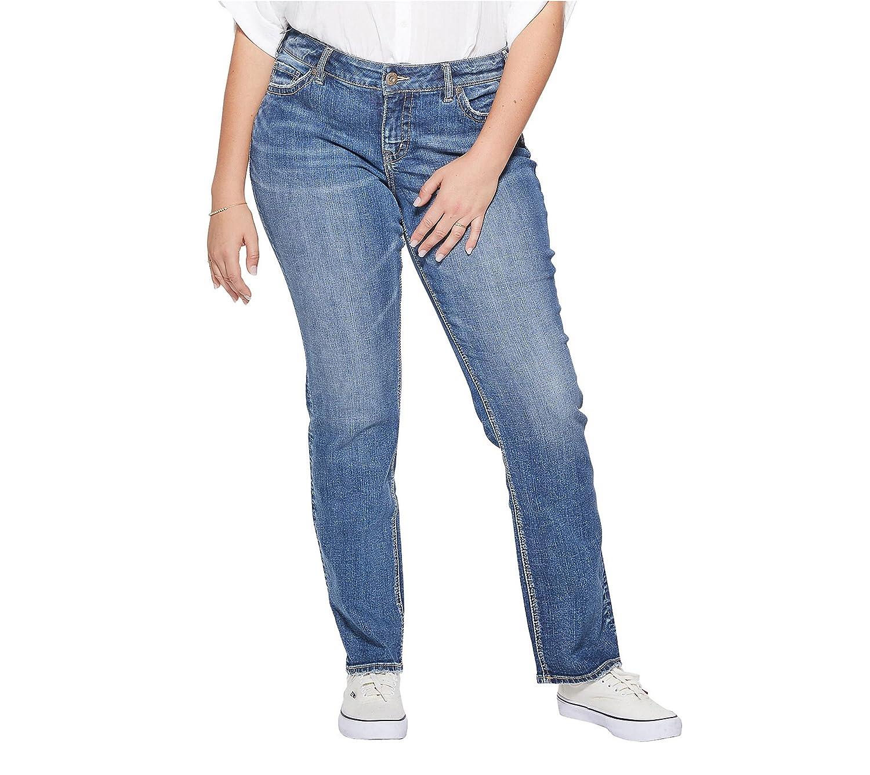 Medium Sandblast Silver Jeans Co. Womens Plus Size Suki Curvy Fit Mid Rise Straight Leg Jeans Jeans