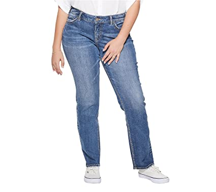 3bbcb350cd504 Silver Jeans Co. Women s Plus Size Suki Curvy Fit Mid Rise Straight Leg  Jeans
