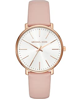 2fb1264046c0 Michael Kors Watches Womens Rose Gold-Tone and Blush Leather Pyper Watch