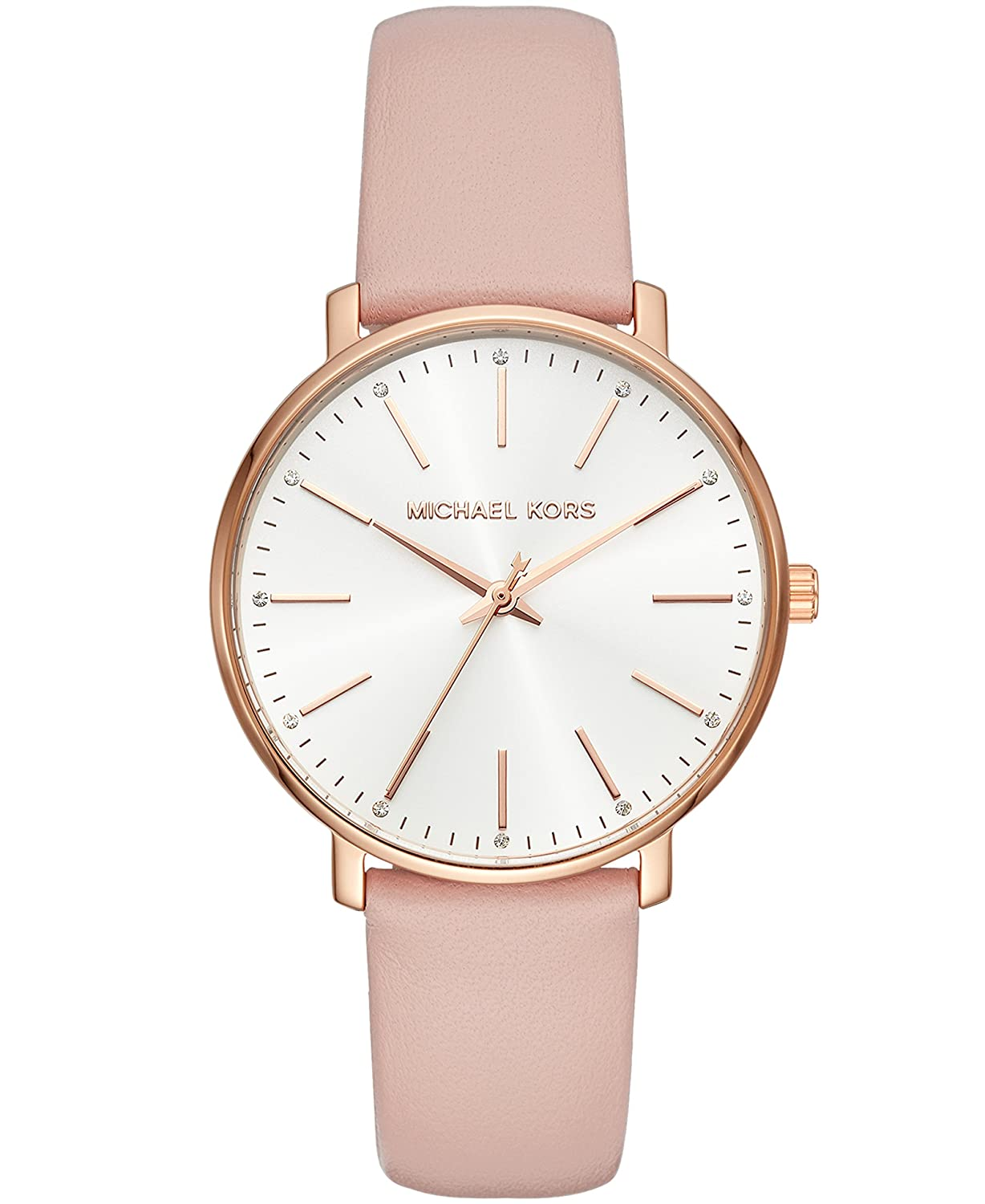 67058a64b350 Amazon.com  Michael Kors Women s Stainless Steel Quartz Watch with Leather  Calfskin Strap