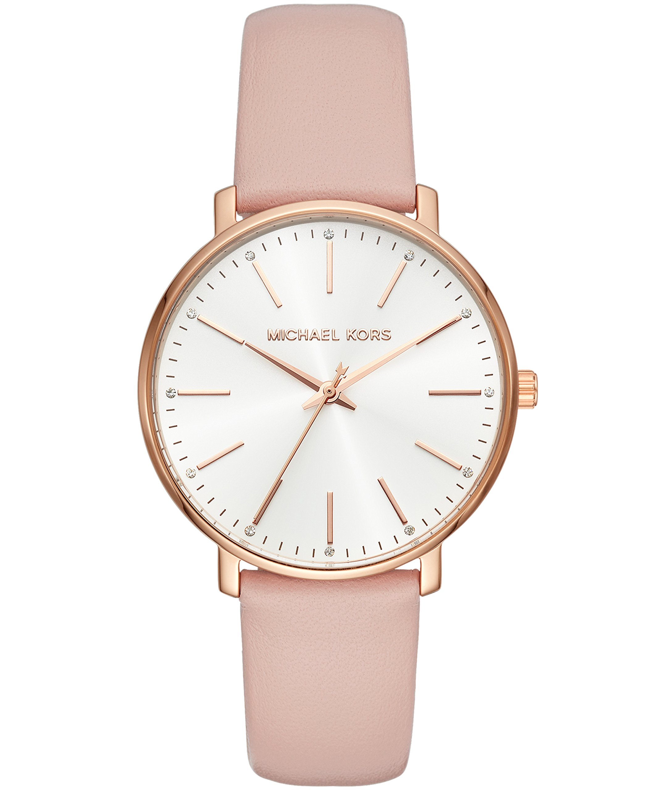 Michael Kors Women's Stainless Steel Quartz Watch with Leather Calfskin Strap, Pink, 18 (Model: MK2741