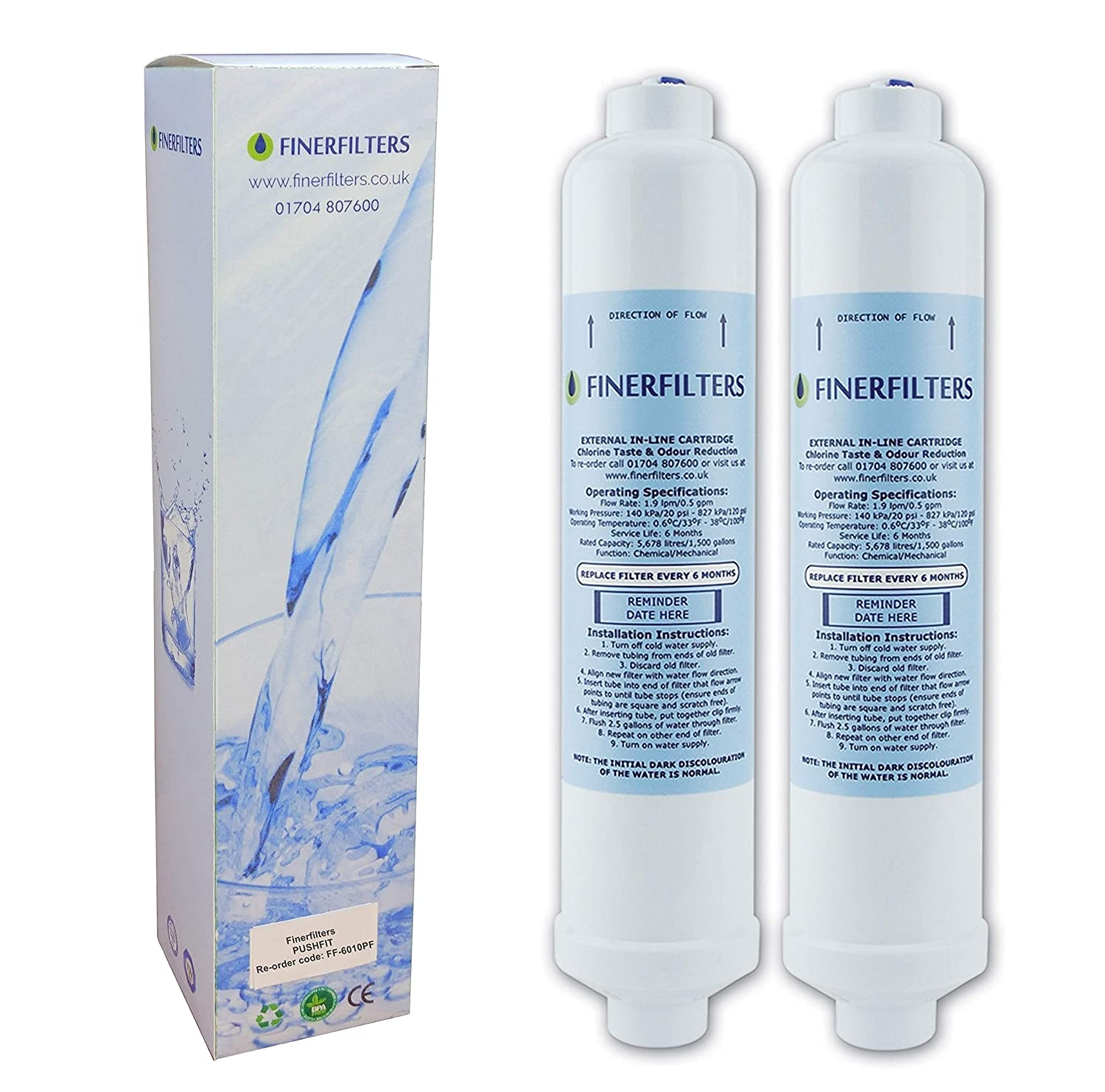 2 x Finerfilters Replacement Daewoo DD7098 497818 Compatible Fridge Water Filter Cartridge