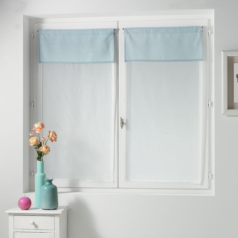 Charme et Douceur Voilage passe tringle Polyester Bleu 2 x 60 x 90 cm