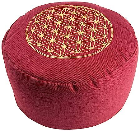 Berk YO-21-RO - Cojín de meditación, diseño con símbolo de la Flor de la Vida, Color Rojo