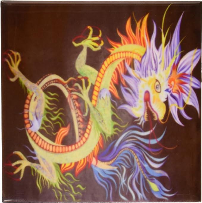 Set of 4 3dRose cst/_46718/_3 Chinese Dragon Chinese New Year Ceramic Tile Coasters Dragon Creature Chinese Mythology Yang