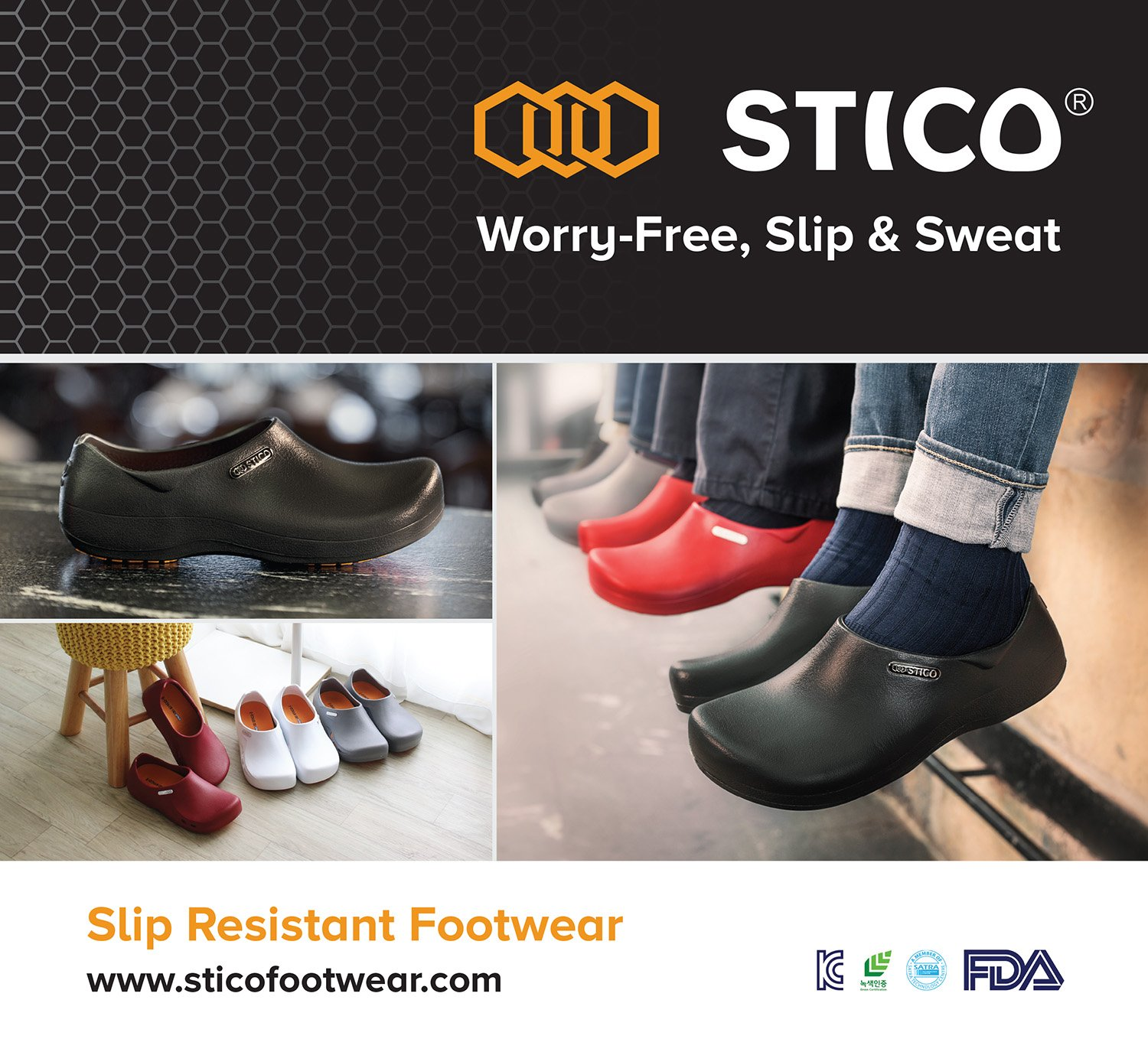 STICO Slip Resistance Shoes for Chef and Nurse NEC-03 M10-10.5 (US) W11-11.5