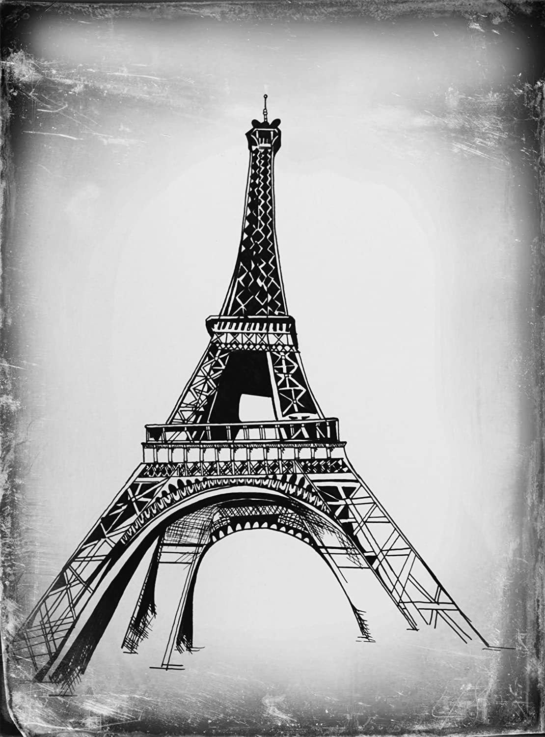 Black and white eiffel tower paris france black and white art original artwork drawing painting french artwork gift under 20 housewarming gift