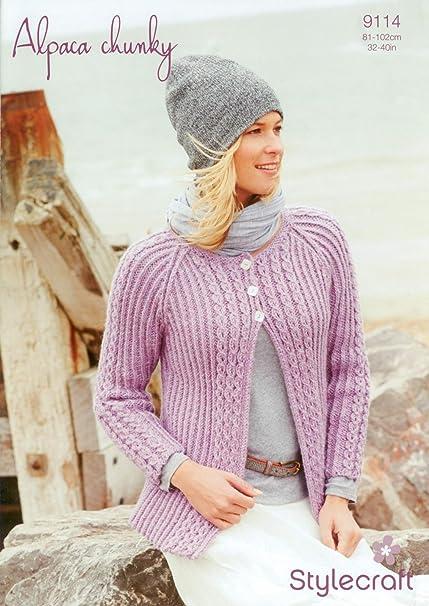 c1b40c86c Stylecraft 9114 Knitting Pattern Ladies Cardigan in Alpaca Chunky  Amazon.co .uk  Kitchen   Home