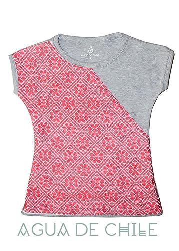 Camiseta niña rosa, bordada a mano, 6 años
