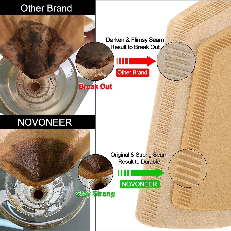 Novoneer 100 St/ück Papier Kaffeefilter 1 Pack Gr/ö/ße 04 Filtert/üten in Naturbraun