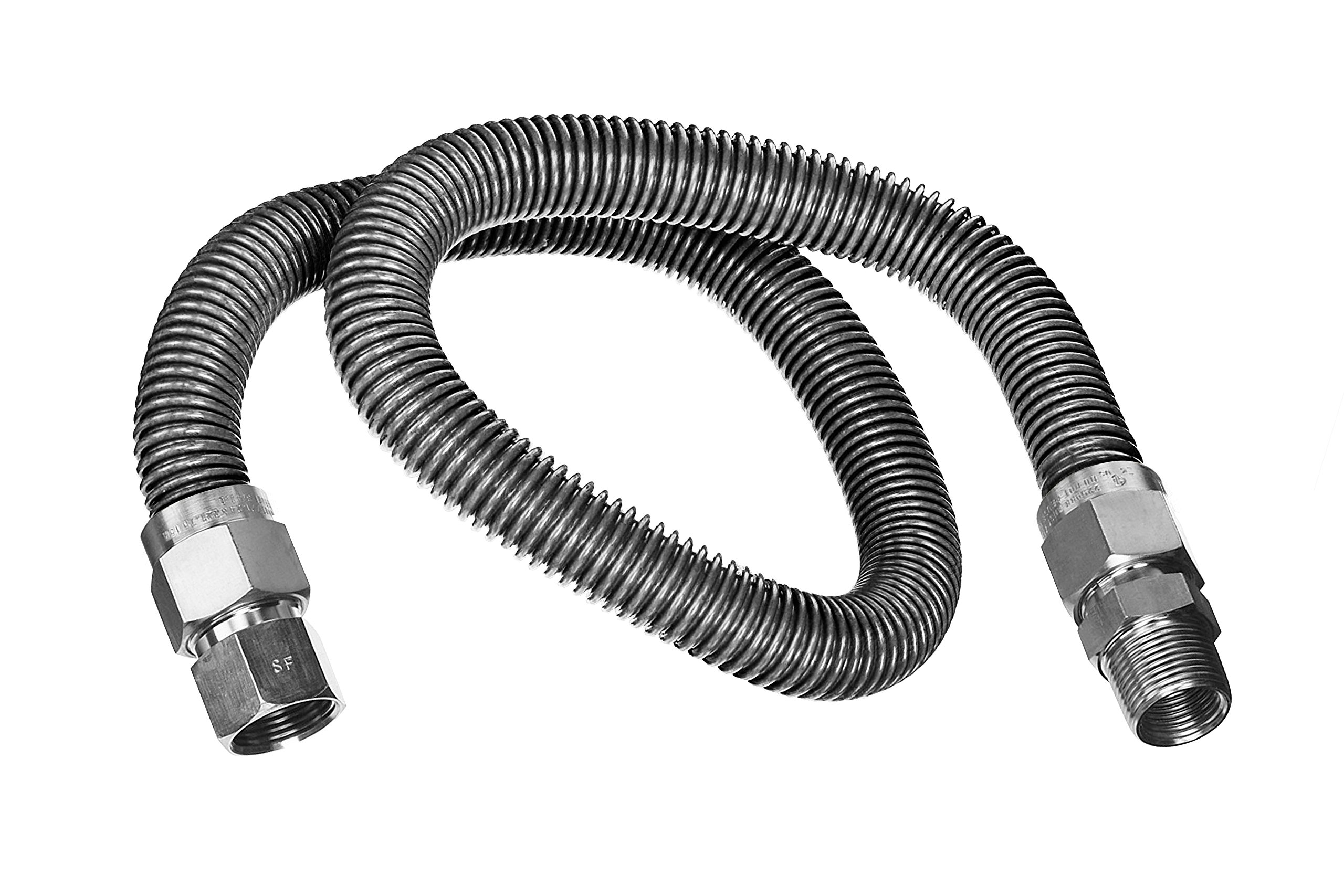 Flextron FTGC-SS14-72C 72 Inch Flexible Gas Line Connector with 3/8 Inch Outer Diameter & 1/2 Inch FIP x 1/2 Inch MIP Fittings, Uncoated Stainless Steel Space Heater Connectors, CSA Approved