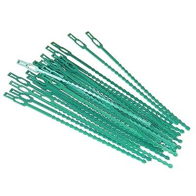 """Pack of 30pc Green Plastic Gardening & Plant Ties, Adjustable, Flexible, 8.5"""" Green Color Plastic : Garden & Outdoor"""