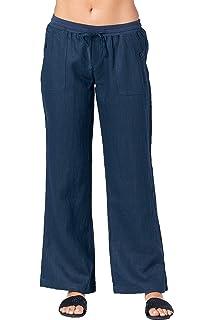 73e4e10e15d1 Mariyaab Women's Wide Leg Casual Loose Fitting 100% Linen Pants with  Elastic Waist and Drawstring