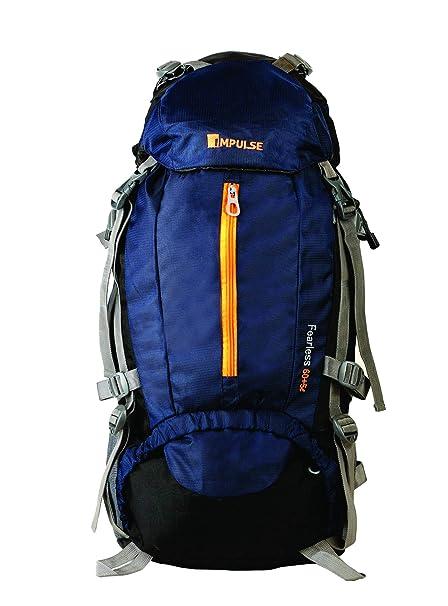 fbdcd3881839a Impulse Waterproof Travelling Trekking Hiking Series 65 litres Blue Inverse  U Rucksack  Amazon.in  Bags