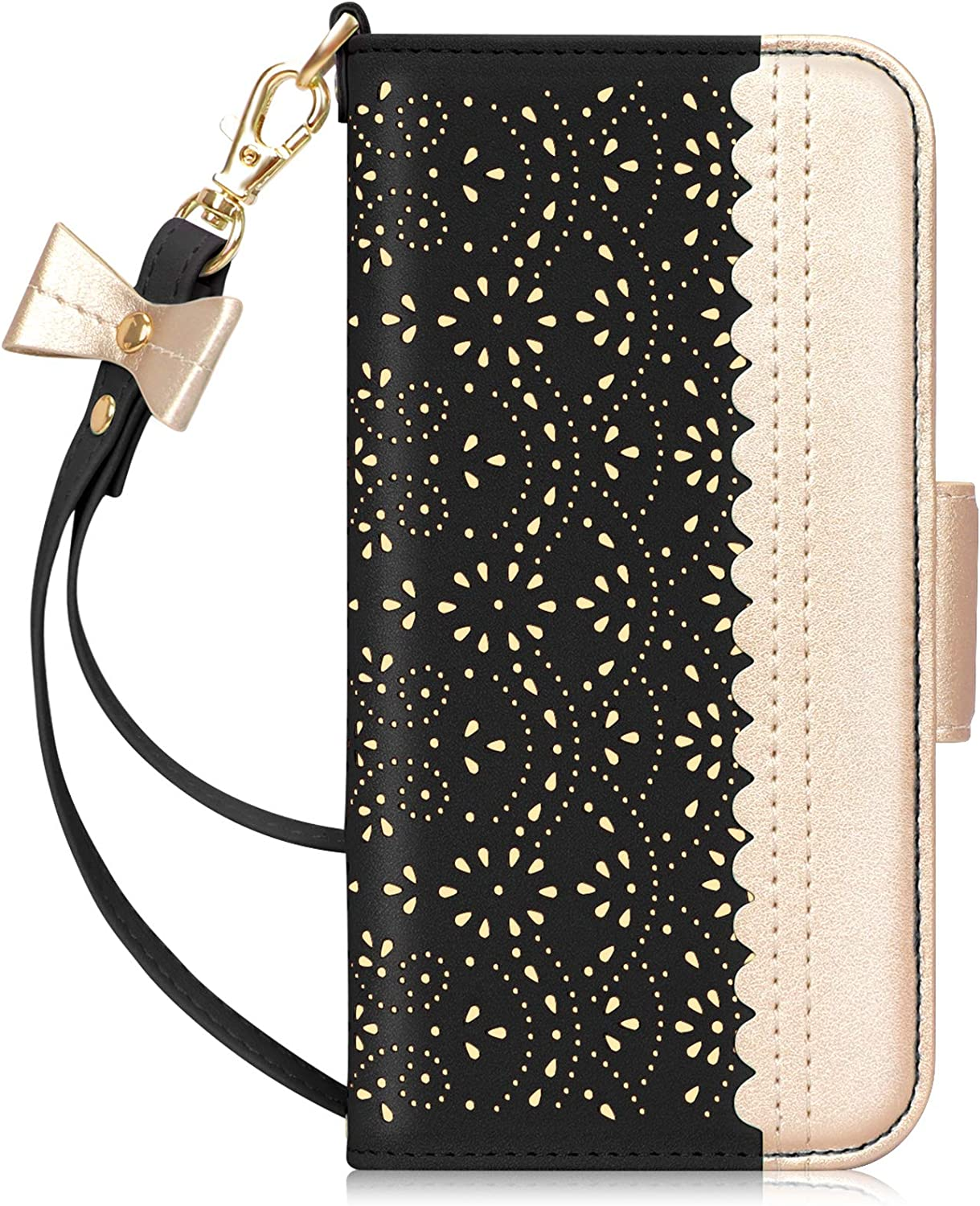 Makeup Mirror Leather Wallet Case with for iPhone 12//iPhone 12 Pro 6.1-Inch Black WWW Wallet Case Compatible with iPhone 12//iPhone 12 Pro 2020, Kickstand Feature Romantic Carved Flower
