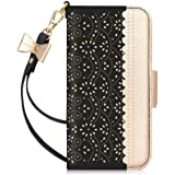 """WWW Wallet Case Compatible with iPhone 12 Pro Max (6.7"""" 2020),[Luxurious Romantic Carved Flower] Leather Wallet Case with [Ma"""