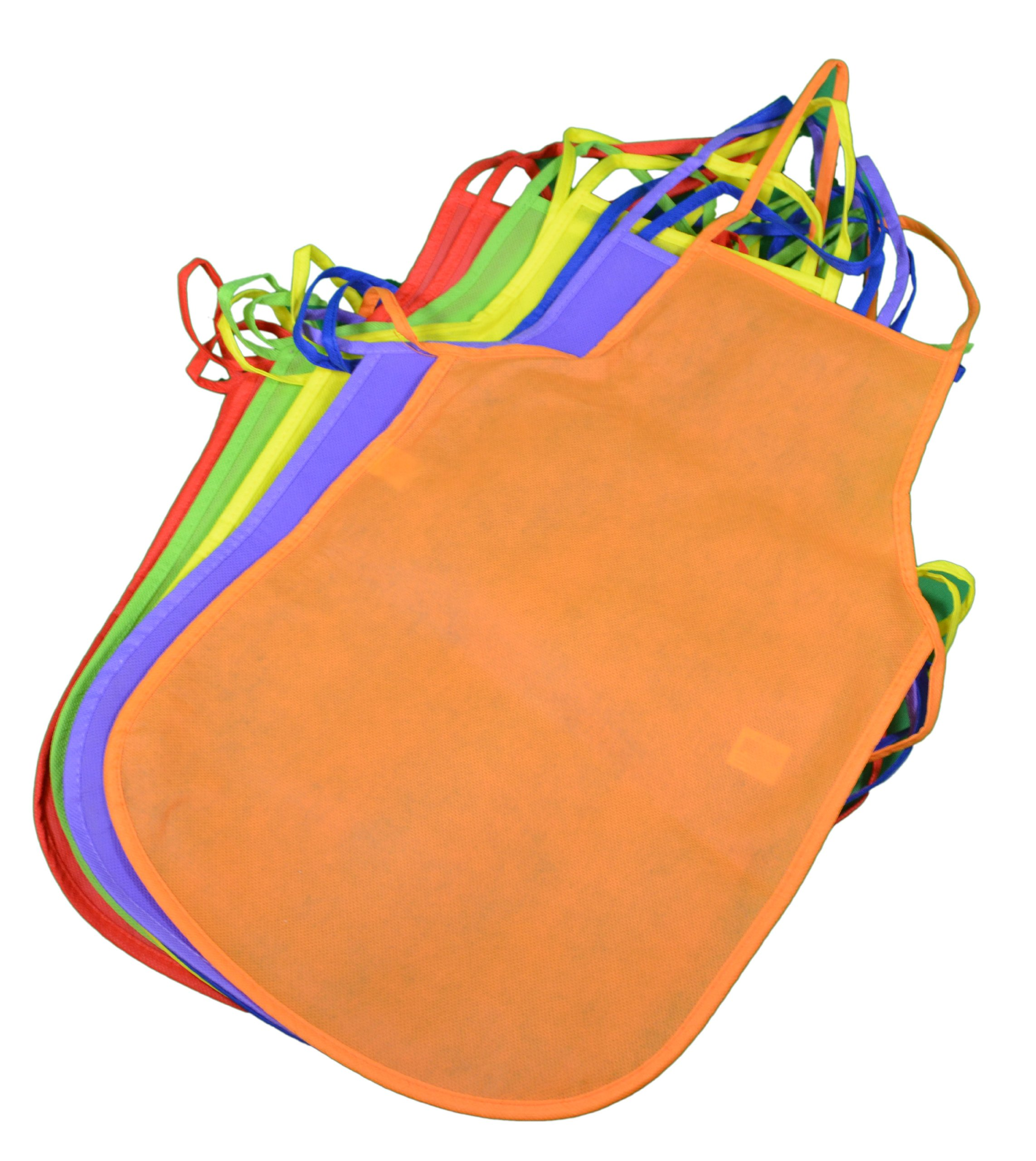 12 Pack Children's Kids Artists Aprons Polyester Non-woven Assorted Colors