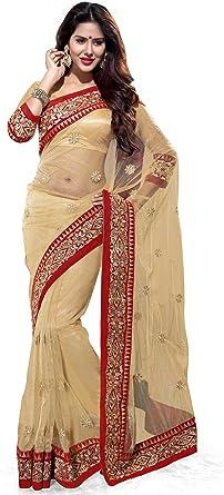 Women/'s  Art Silk Saree with Blouse Piece Red /& Beige Party Wear