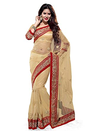 fdfcc2935c Mirchi Fashion Women's Net Zari Wedding Party Wear Indian Saree Free Size  Beige/Red
