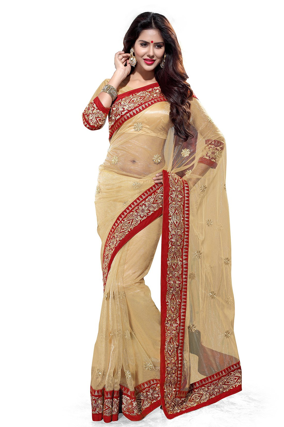 Mirchi Fashion Women's Net Zari Wedding Party Wear Indian Saree Free Size Beige