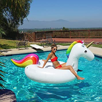 Great DreamPool® Giant Unicorn Inflatable Luxury Pool Float | Outdoor Swimming  Pool Floatie Lounge Toy For