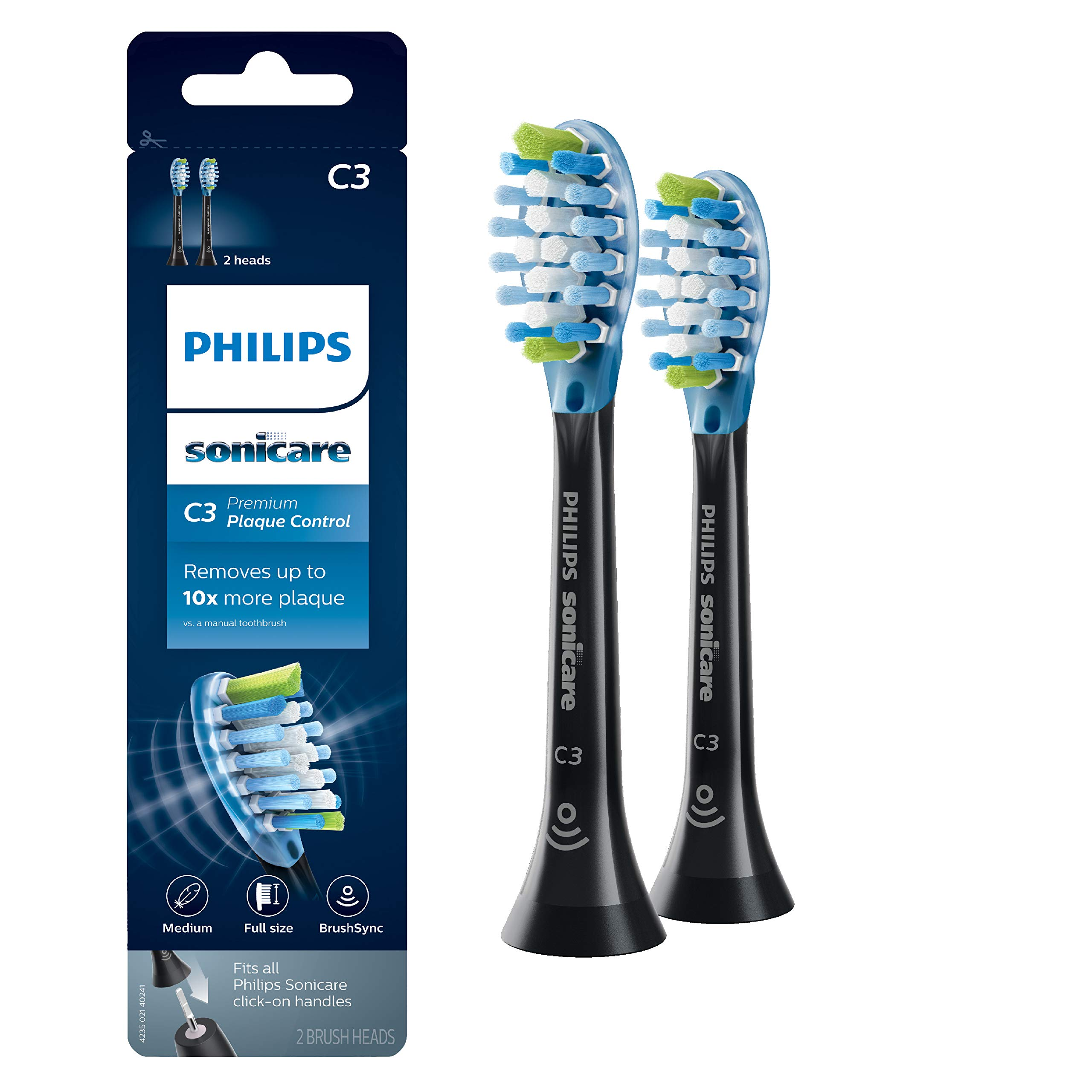 Philips Sonicare Premium Plaque Control replacement toothbrush heads, HX9042/95, BrushSync technology, Black,Count 2,Pack of 1