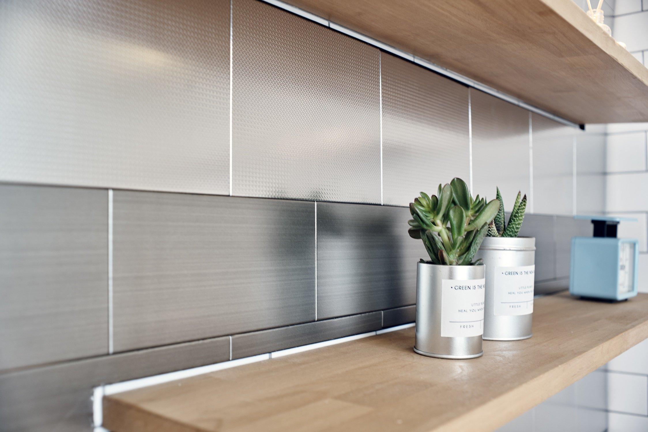 Stainless Steel Home Interior Decor Peel and Stick Sticker Fire Retardant Backsplash Kitchen DIY Check Silver (10cm x 20cm 4pcs)