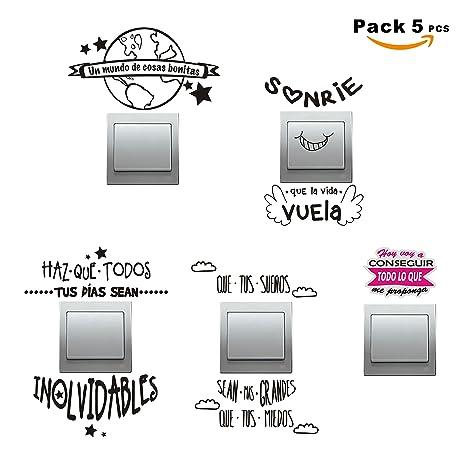 Super Sticker Pack 5 Pcs Vinilo Decorativo Pegatina Para Pared Libreta Interruptor Puerta Etc Frases Molonas Ref Pck4a