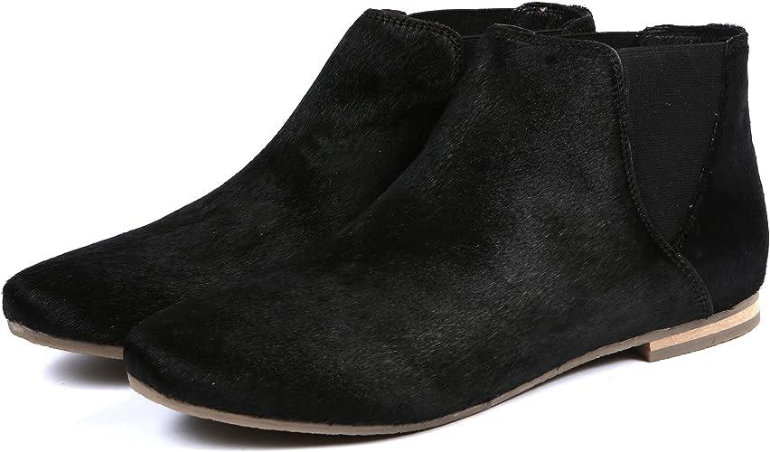 Aspele Damen Leder Mit Haaren Geparden Aufdruck Flache Chelsea Stiefelletten Schuhe