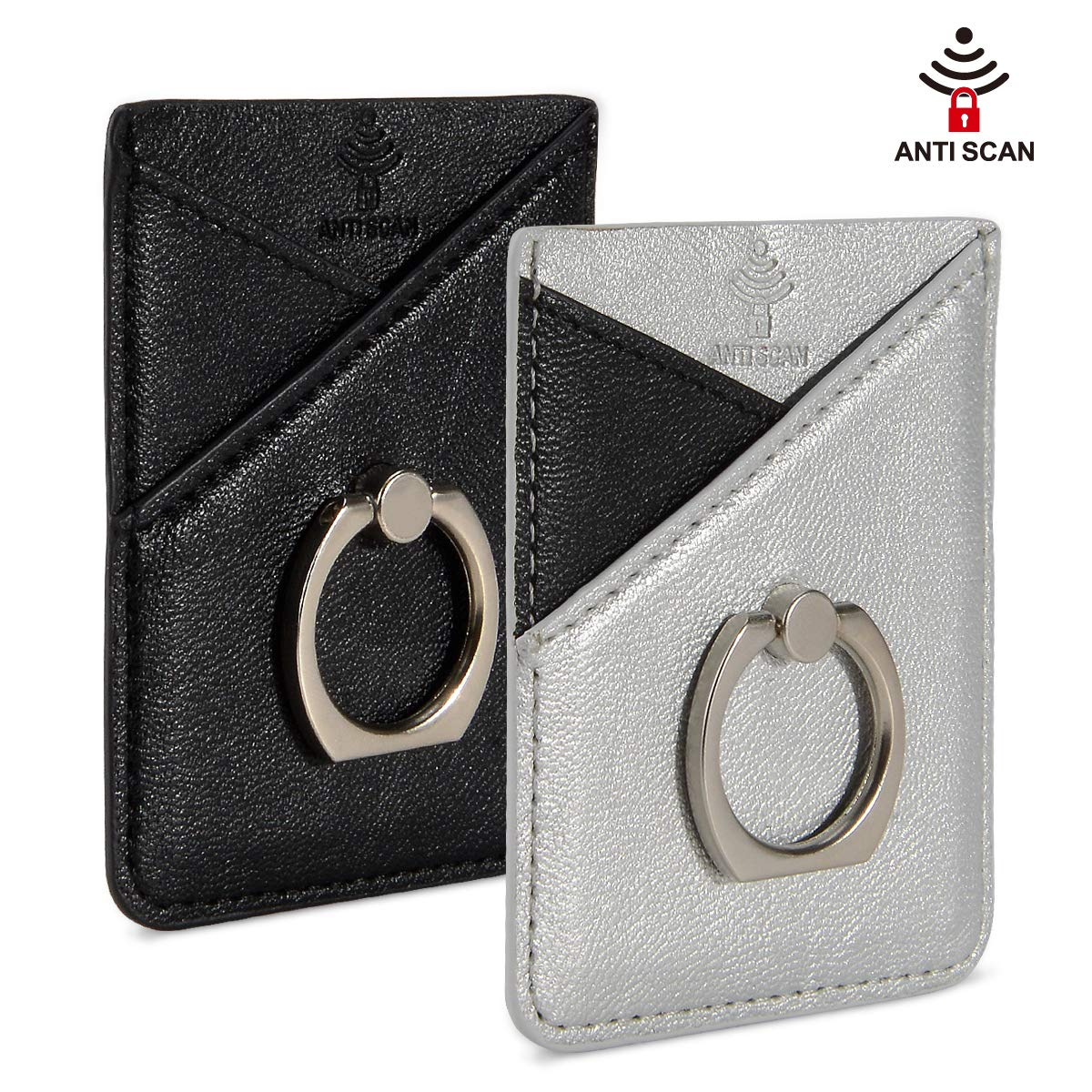 SHANSHUI RFID Blocking Phone Card Sleeve, Reusable Washable PU Leather Phone Pocket with Ring Grip Stand Stick-on ID Credit Card Wallet Case Pouch Pocket for Most Smartphones- Black Silver by SHANSHUI