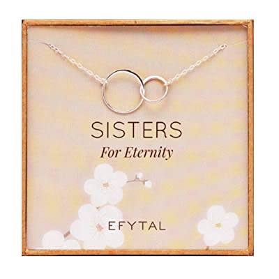 EFYTAL Silver Double Circle Necklace