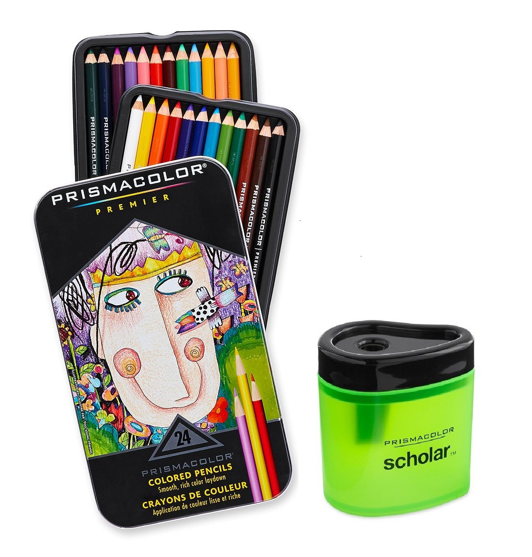 Prismacolor Premier Soft Core Colored Pencil, Set of 24 Assorted Colors (3597T) + Prismacolor Scholar Colored Pencil Sharpener (1774266) by Prismacolor