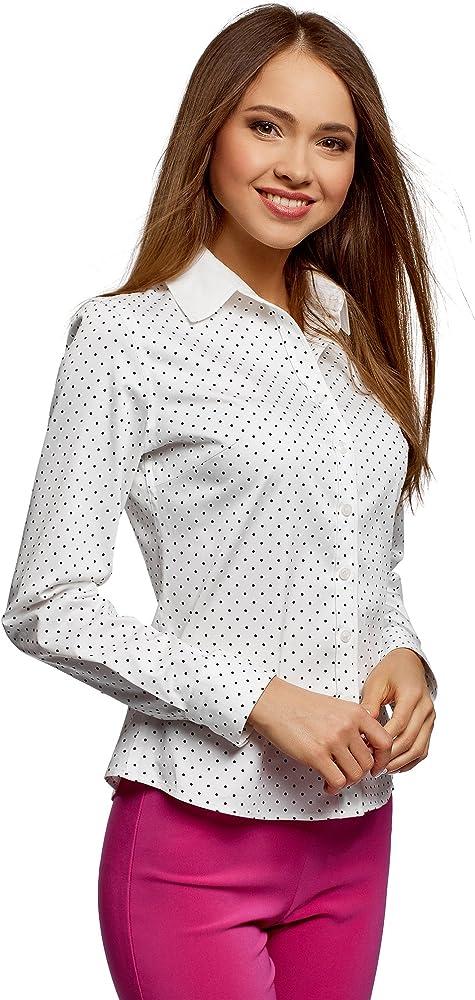 oodji Collection Mujer Camisa Estampada Entallada, Marfil, ES 36 / XS: Amazon.es: Ropa y accesorios