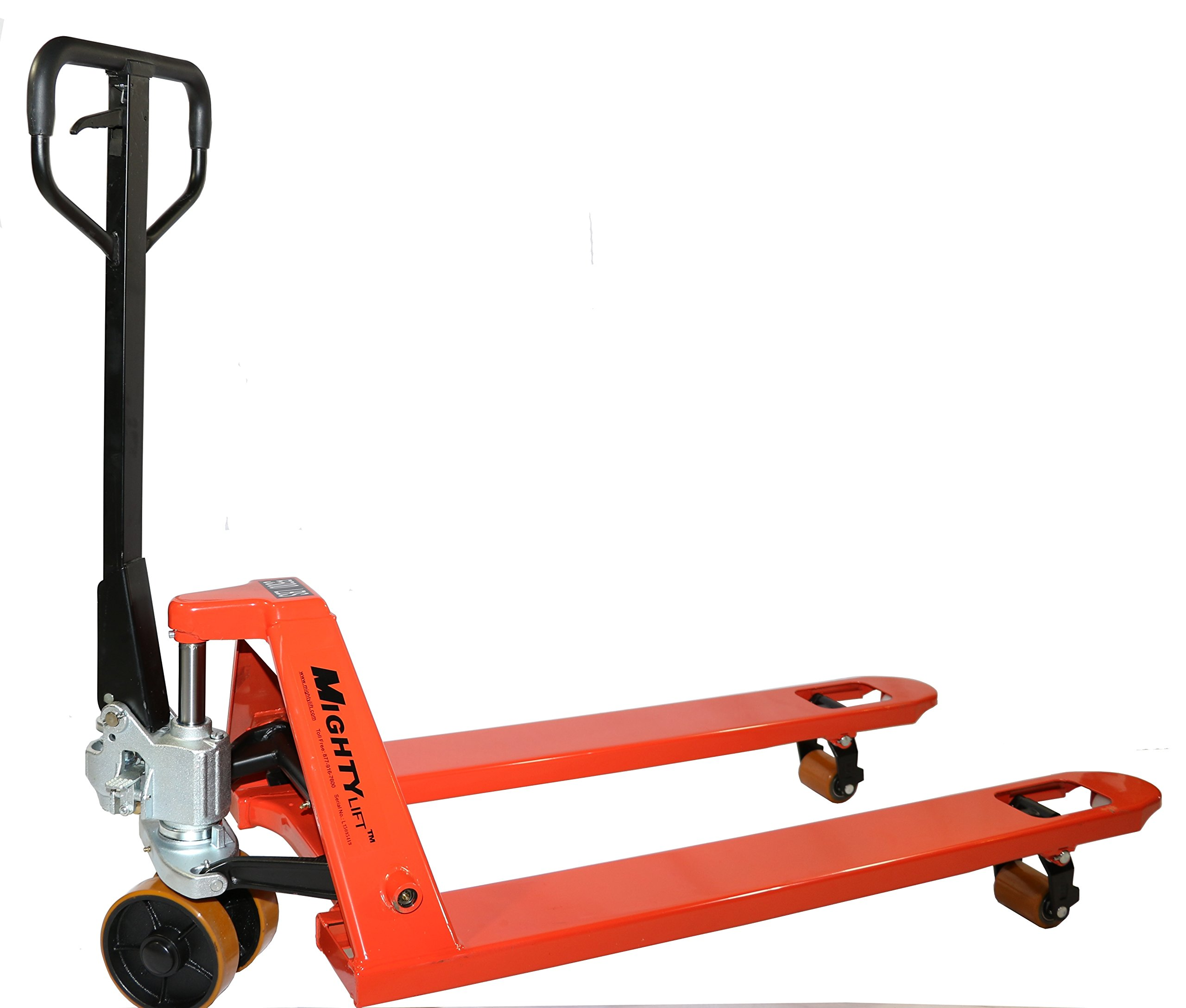Mighty Lift ML55L-2 Heavy Duty Pallet Jack Truck, Wheels: super Polyurethane on Steel., 50'' Height, 27'' width, 48'' Length, 5500 lbs. Load Capacity, Orange