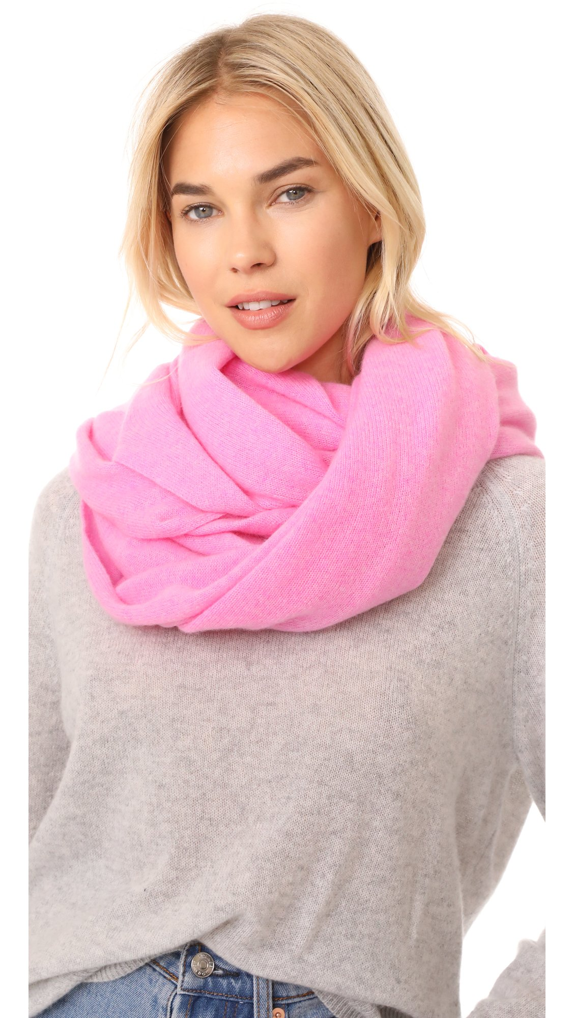 White + Warren Women's Cashmere Travel Wrap Scarf, Neon Pink Heather, One Size