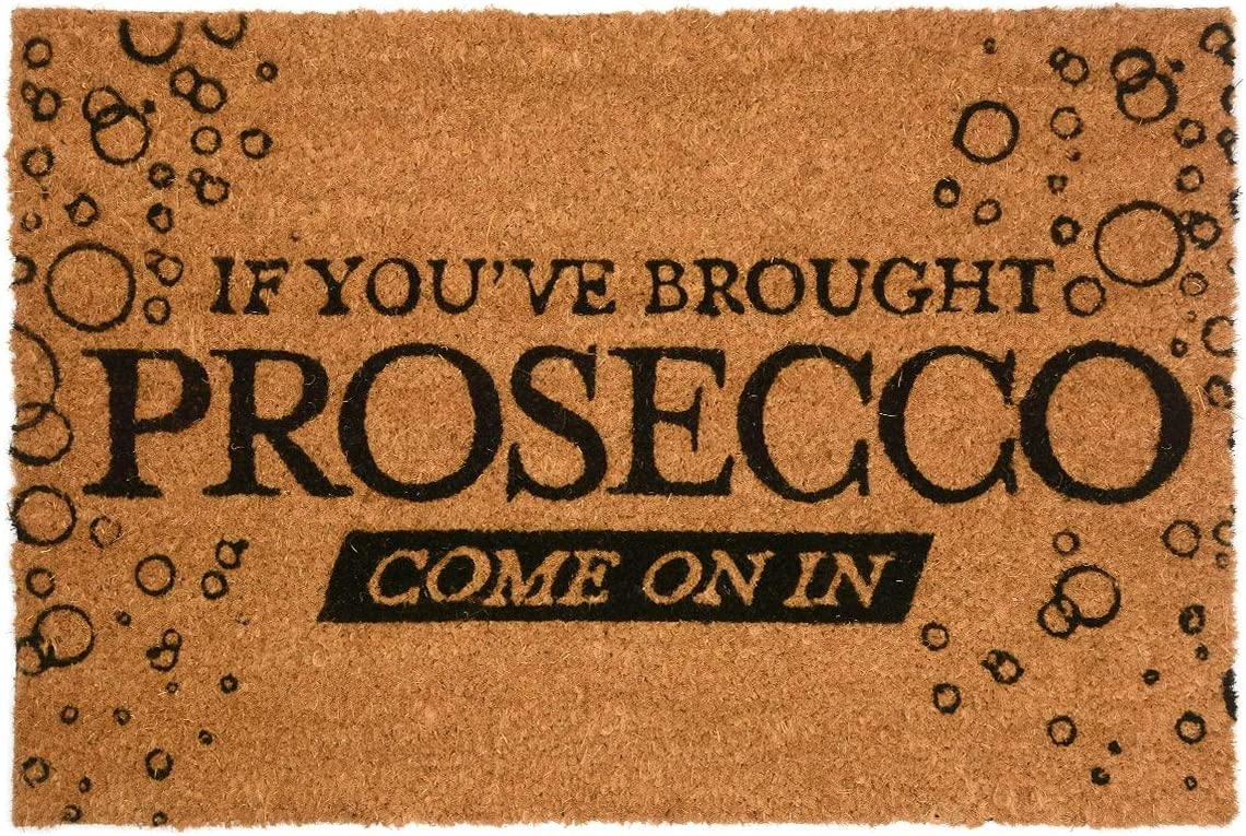 CKB Ltd Come in Prosecco Novelty Doormat Unique Doormats Front Back Door Mats Made with A Non-Slip PVC Backing – Natural Coir – Indoor Outdoor