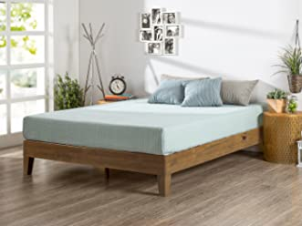 Zinus 12 Inch Deluxe Wood Platform Bed/No Boxspring Needed/Wood Slat Support/Rustic Pine Finish, Full