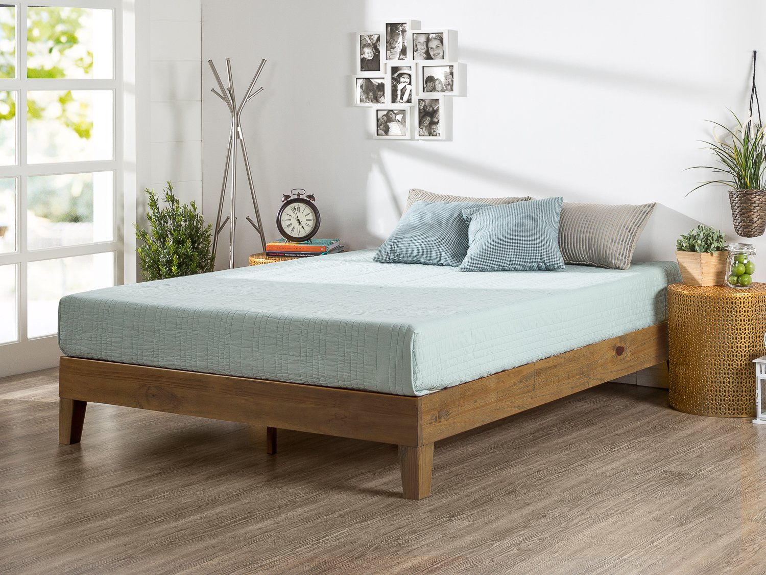 Zinus 12 Inch Deluxe Wood Platform Bed / No Boxspring Needed / Wood Slat Support / Rustic Pine Finish, Full