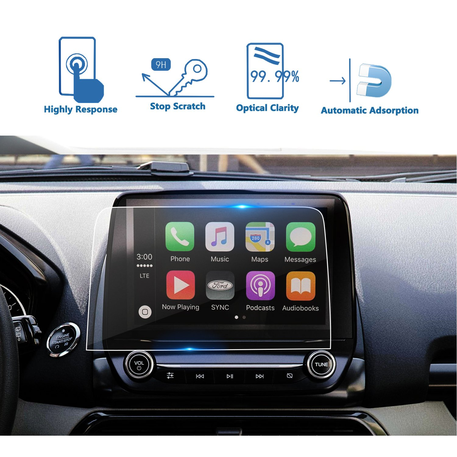 LFOTPP 2018 Ford EcoSport SYNC 3 8 Inch Trapezoid Tempered Glass Car Navigation Screen Protector, [9H] Infotainment System Screen Center Touchscreen Protector Anti Scratch High Clarity