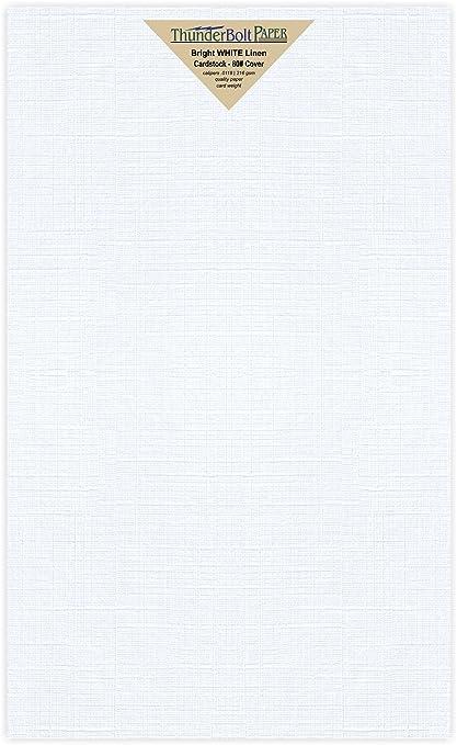 amazon com 50 sheets bright white fine linen 80lb cover stock