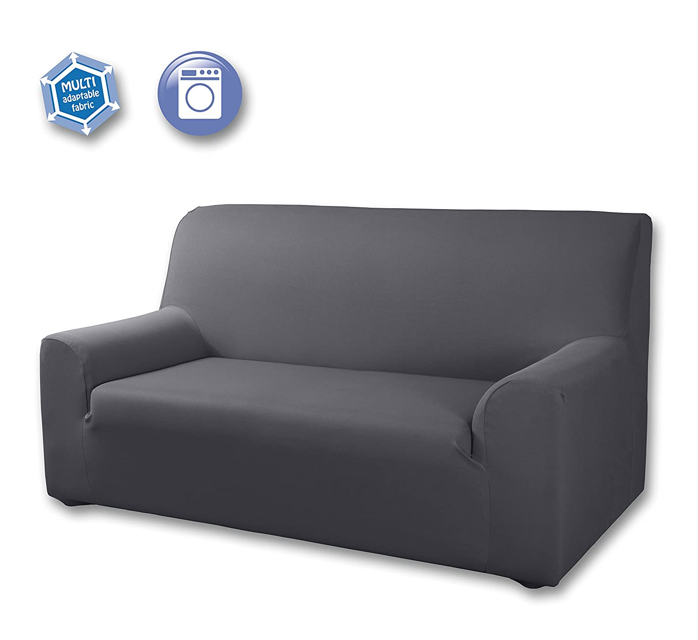 Velfont Sofa Cover Universal Grey Double Stretch Sofa 2 Sitzer