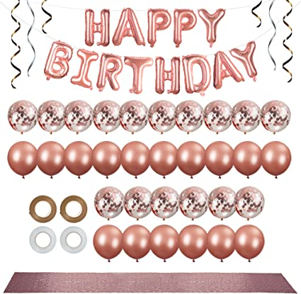Amazon Com 50pc Rose Gold Party Decorations Kit 12 Inch Rose Gold Balloons Confetti Balloons Happy Birthday Banner Rose Gold Table Runner White Rose Gold Ribbon
