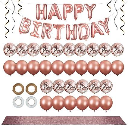 Amazon.com: Kit de decoración de fiesta de oro rosa de 38 ...