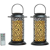 """2 Metal Scroll Cirque Lanterns with 6"""" Outdoor Flameless Candles, Remote & Batteries Included -Great for The Outdoors, Weddings, and Porch Decorations!"""