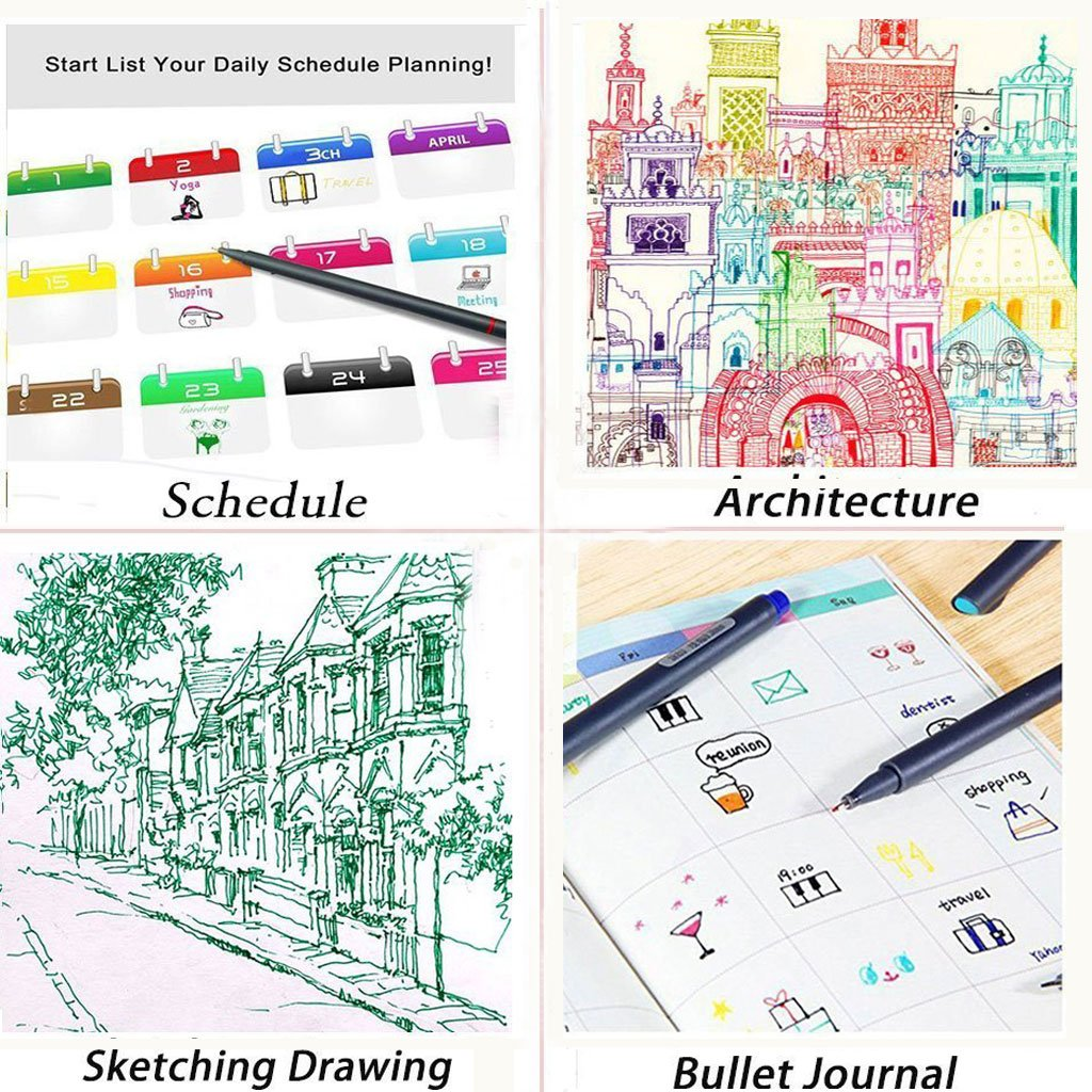 Taotree Fine Line Colored Sketch Writing Drawing Pens for Journal Planner Note Taking and Coloring Book 24 Fineliner Color Pens Set Porous Fine Point Pens Markers