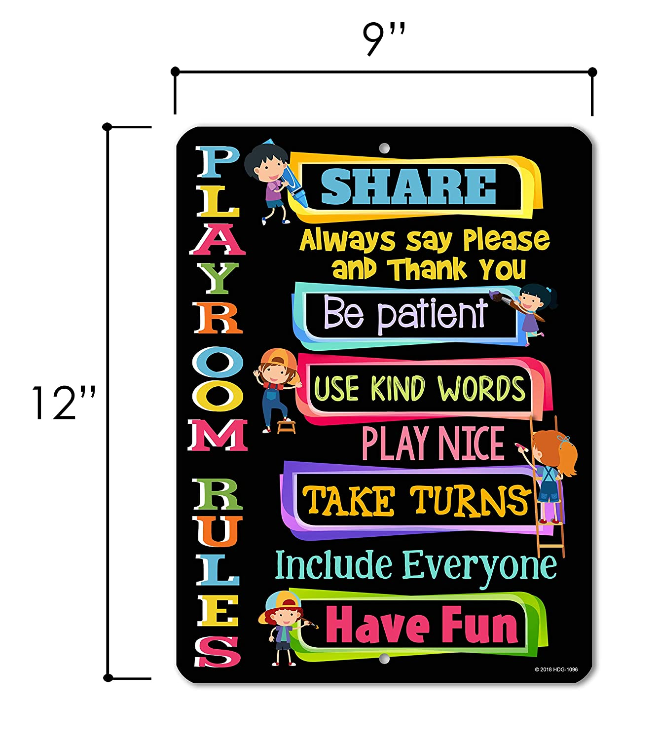 9x12 Novelty Tin Playroom Decor Black Playroom Rules Honey Dew Gifts Kids Wall Decor