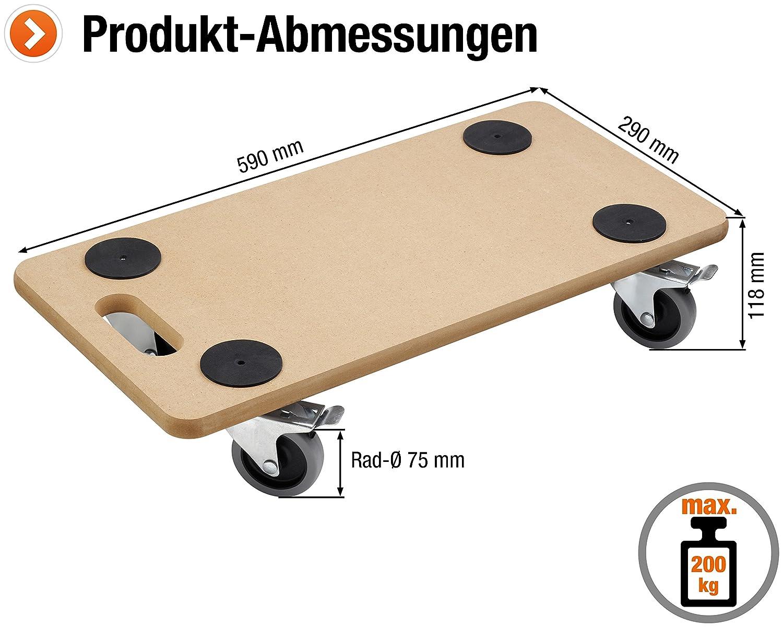 Meister 821390 - Tabla con ruedas para transporte (soporta hasta 200 kg, 590 x 290 mm): Amazon.es: Industria, empresas y ciencia