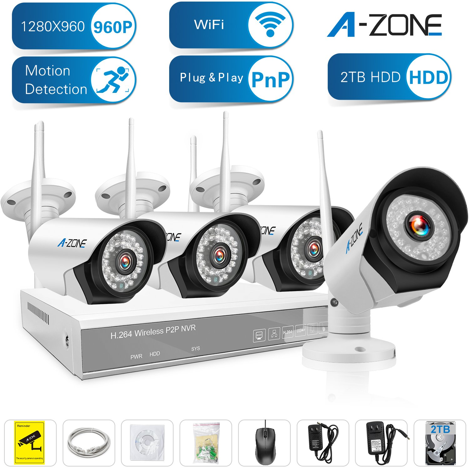 A-ZONE 4 Channel 960P HD Wireless Security Camera System NVR,1280 x 960P Waterproof Night Vision IP Surveillance Camera Kit ,Including 2TB HDD